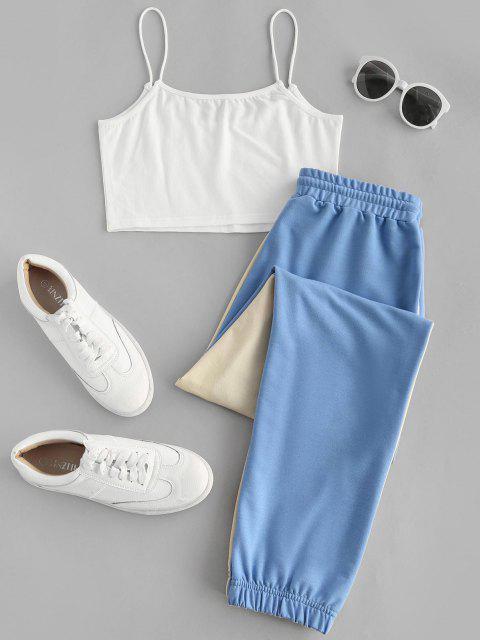Crop Cami Top und Zweifärbiges Jogger Hose Set - Hellblau S Mobile