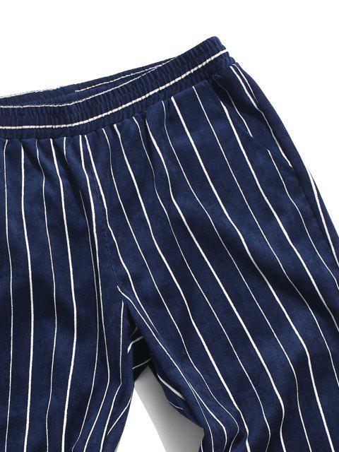 sale Striped Pattern Corduroy Beam Feet Pants - DEEP BLUE 3XL Mobile