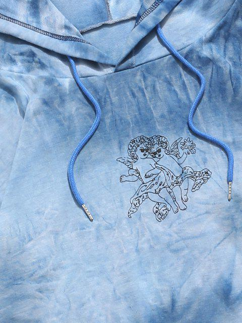 outfit Angel Tie Dye Print Hoodie And Pants Two Piece Set - LIGHT BLUE XL Mobile