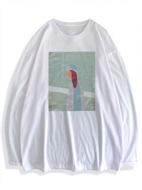 Figure Pattern Long Sleeve Basic T-shirt - أبيض 2XL Mobile