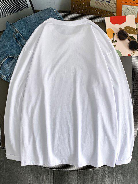 Camiseta Básica de Manga Comprida com Estampa de Figura - Branco 2XL Mobile