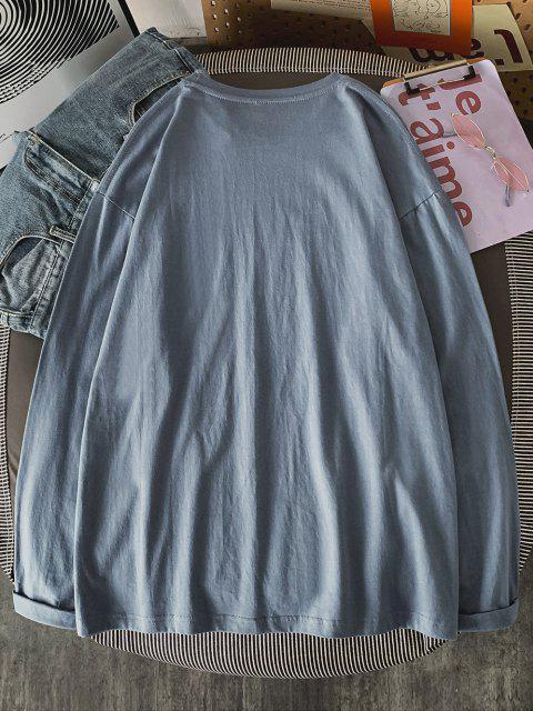 shop Figure Pattern Long Sleeve Basic T-shirt - BLUE KOI S Mobile