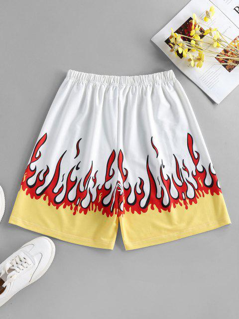 ladies ZAFUL Flame Print High Waisted Bermuda Shorts - WHITE L Mobile