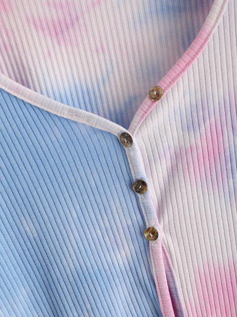 womens Tie Dye Ribbed Crop Cardigan - LIGHT BLUE M Mobile
