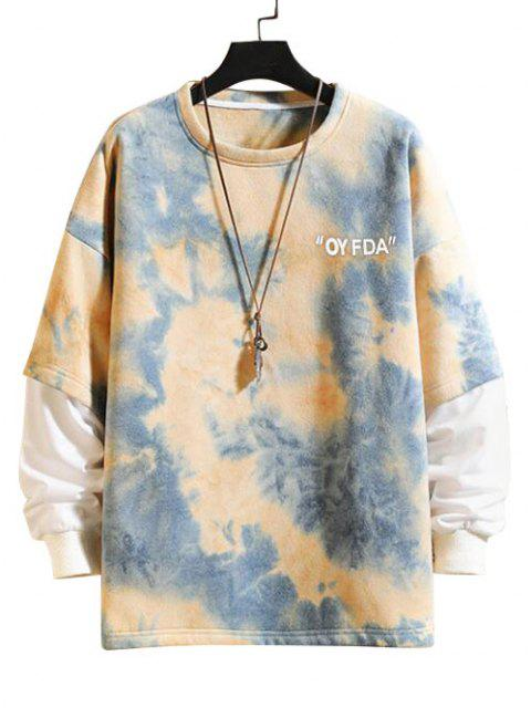 shop Tie-dye Drop Shoulder Faux Twinset Sweatshirt - SILK BLUE 3XL Mobile