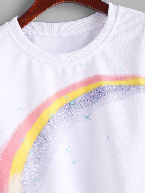 Sweat-shirt Graphique Court Arc-en-ciel Etoile Imprimée - Blanc XL Mobile
