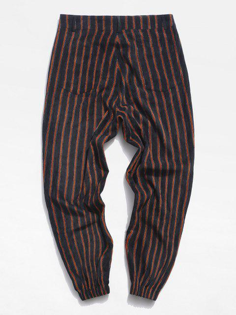 hot Striped Pattern Zip Fly Beam Feet Pants - BLACK XL Mobile