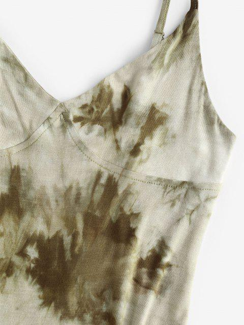 ladies Tie Dye Bodycon Slit Cami Dress - GREEN XL Mobile