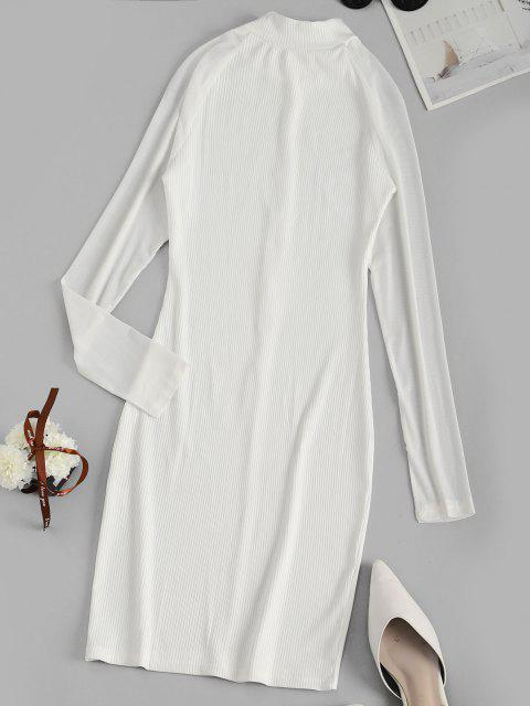 outfits Long Sleeve Ribbed Mesh Sleeve Bodycon Dress - WHITE M Mobile