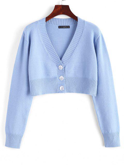 Rib-knit Trim Button Up Crop Cardigan - ازرق فاتح حجم واحد Mobile