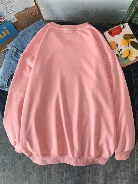 Sweat-shirtMotifdeSlogan à Goutte Epaule - Rose  XL Mobile