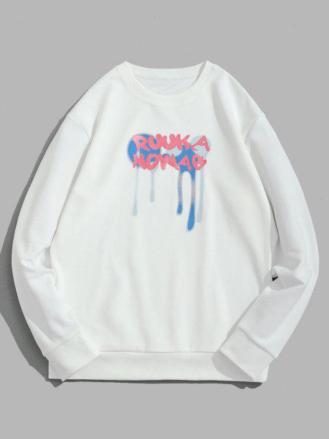 Sweat-shirtPull-over GouttedePeintureetLettreImprimés - Blanc XS Mobile