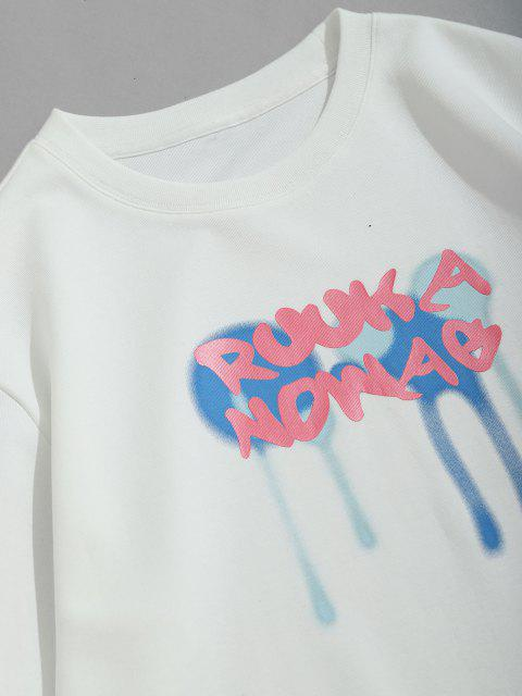 fashion Letter Drip Paint Print Pullover Sweatshirt - WHITE S Mobile