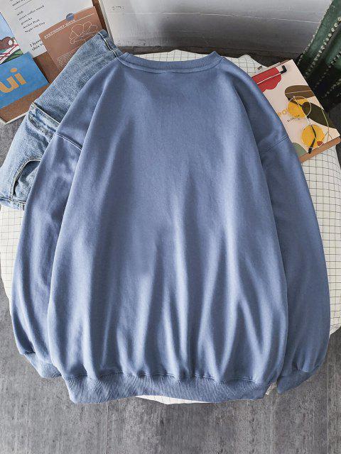 Sweat-shirtMotifdeSlogan à Goutte Epaule - Bleu de Soie 2XL Mobile
