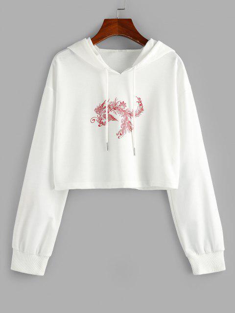 womens ZAFUL Chinoiserie Phoenix Print Cropped Hoodie - WHITE M Mobile