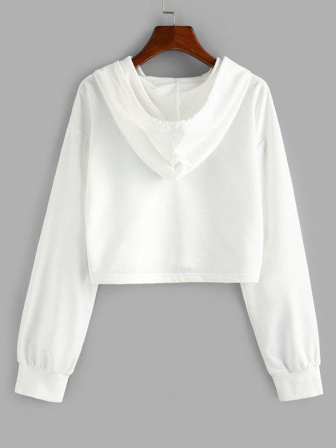 outfits ZAFUL Chinoiserie Phoenix Print Cropped Hoodie - WHITE XL Mobile