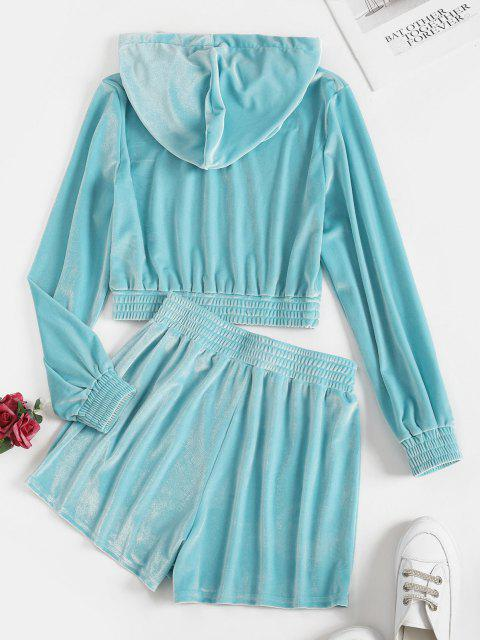 ladies Drawstring Velvet Lounge Two Piece Set - LIGHT BLUE M Mobile