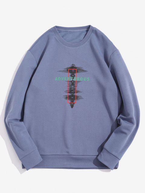 Sweat-shirtPull-overGéométriqueLettreImpriméeàColRond - Bleu XL Mobile
