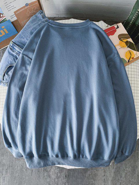 shops Rib-knit Trim Graphic Print Sweatshirt - SILK BLUE L Mobile