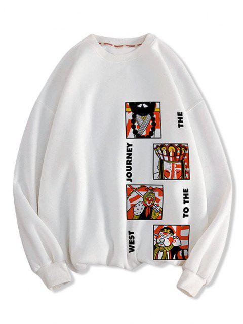 Chinese Journey To The West Graphic Tropfen Schulter Lässige Sweatshirt - Weiß M Mobile