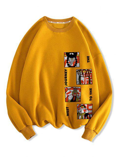 Sweat-shirt Décontracté Caractère Chinois Curture Graphique à Goutte Epaule - Orange d'Or 3XL Mobile