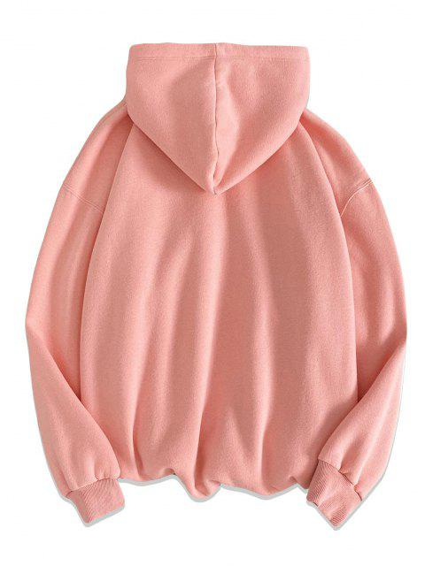 chic Text Graphic Print Kangaroo Pocket Hoodie - PINK L Mobile