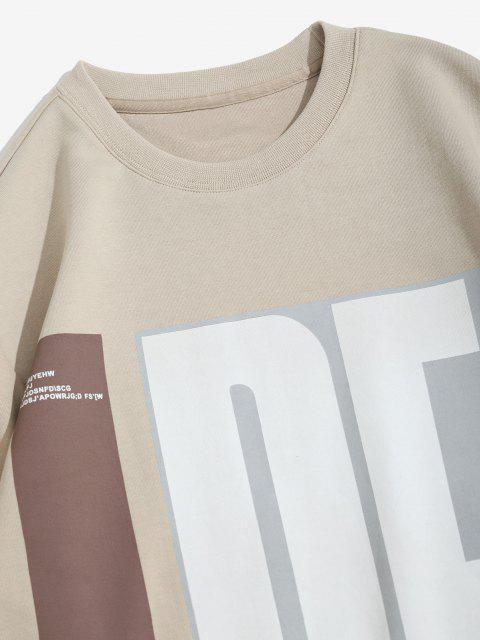 Sweat-shirt Motif de Lettre à Col Rond - café lumière S Mobile