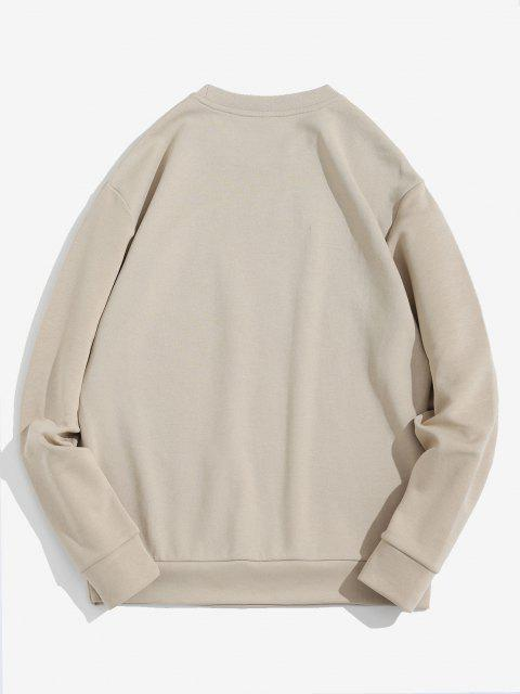 ladies Letter Pattern Pullover Crew Neck Sweatshirt - LIGHT COFFEE S Mobile