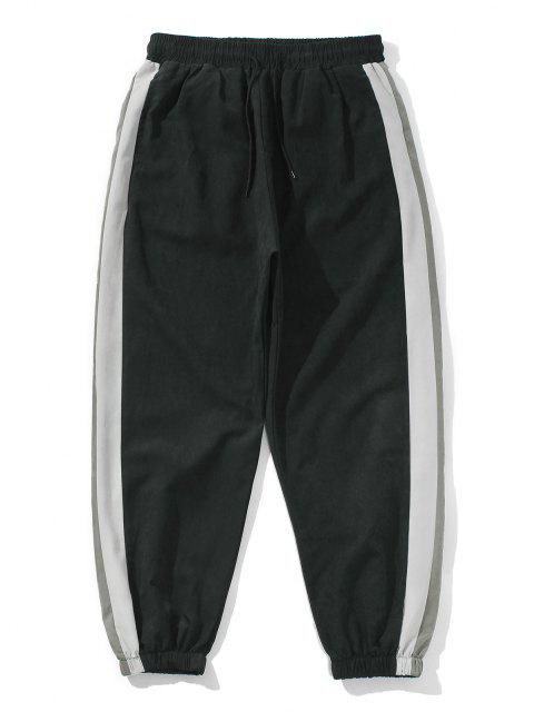 Pantalones Rayados Panel Color Bloque Cintura Elástica - Negro 2XL Mobile