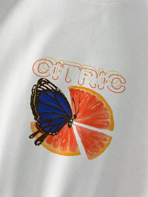 Orange Schmetterlings Grafik Sweatshirt - Weiß L Mobile