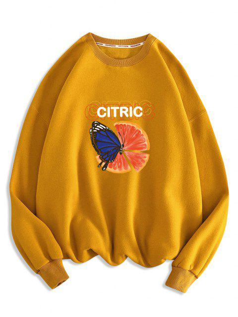 Felpa con Stampa Arancione di Farfalle - Oro d'arancio 2XL Mobile