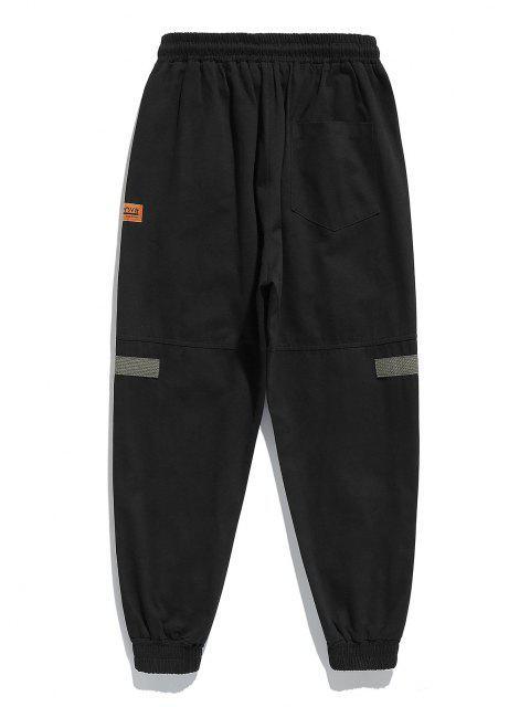 Pantalones Ajustados Pierna de Parche en Contraste - Negro 2XL Mobile