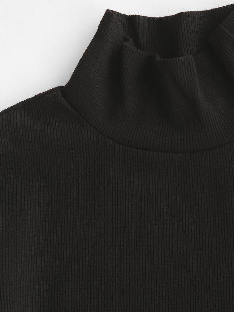 Vestido Ceñido de Camiseta con Cuello Alto - Negro M Mobile