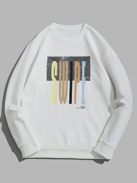 Swipe Brief Drucken Rundhalsausschnitt-Sweatshirt - Weiß XL Mobile