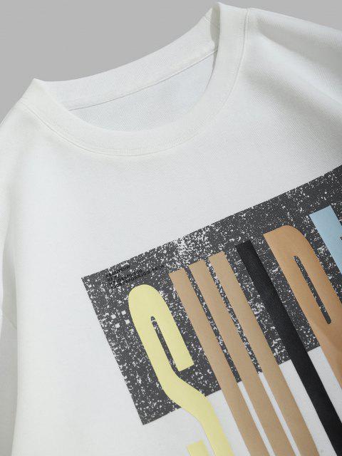 Swipe Brief Drucken Rundhalsausschnitt-Sweatshirt - Weiß XS Mobile