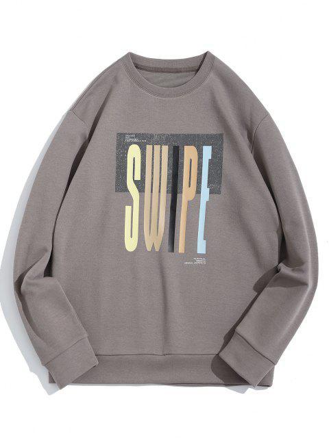 Swipe Brief Drucken Rundhalsausschnitt-Sweatshirt - Grau XL Mobile
