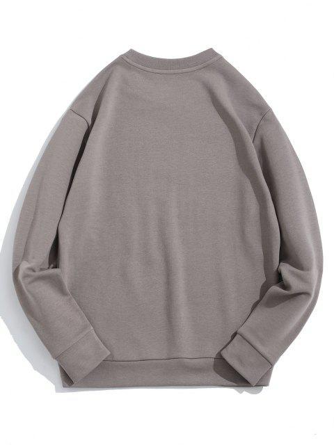 Swipe Brief Drucken Rundhalsausschnitt-Sweatshirt - Grau L Mobile