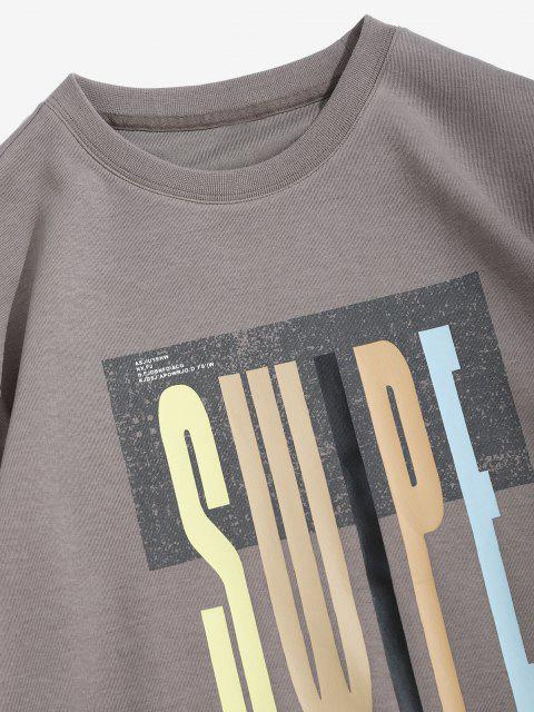 Swipe Brief Drucken Rundhalsausschnitt-Sweatshirt - Grau S Mobile
