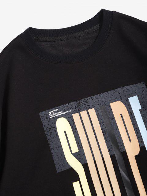 Swipe Brief Drucken Rundhalsausschnitt-Sweatshirt - Schwarz XL Mobile