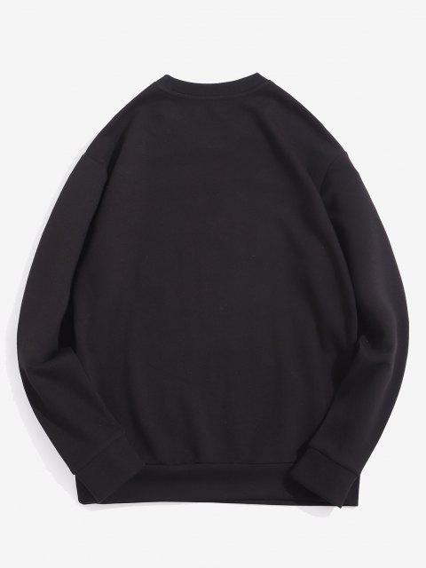 buy Swipe Letter Print Crew Neck Sweatshirt - BLACK M Mobile