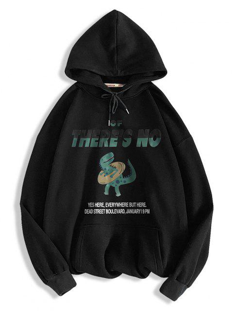 womens There's No Letter Cartoon Dinosaur Pattern Hoodie - BLACK M Mobile