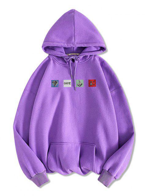 women Graphic Game Print Kangaroo Pocket Hoodie - PURPLE FLOWER S Mobile
