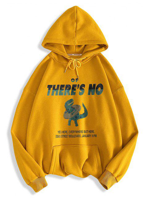 women There's No Letter Cartoon Dinosaur Pattern Hoodie - GOLDEN BROWN L Mobile