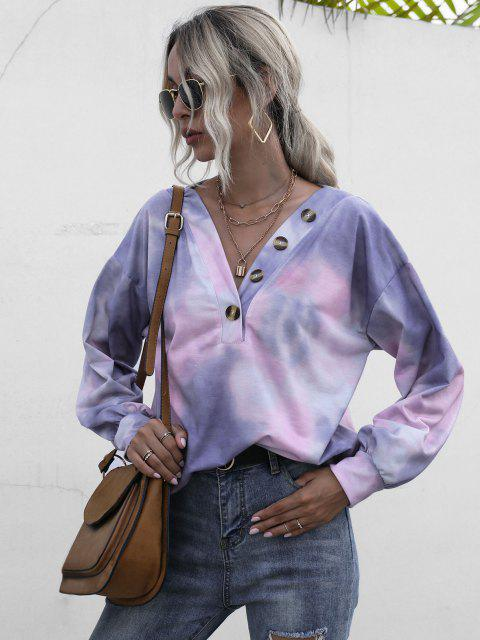 affordable Tie Dye Buttoned Sweatshirt - MULTI S Mobile