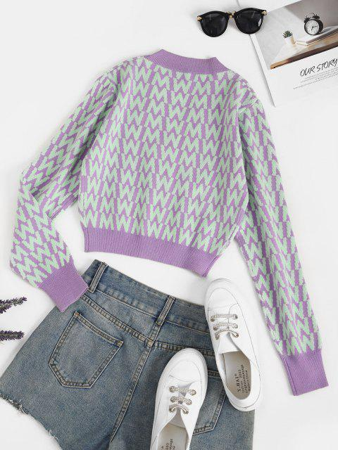 chic V Neck Button Up Dazzling Graphic Cardigan - PURPLE ONE SIZE Mobile
