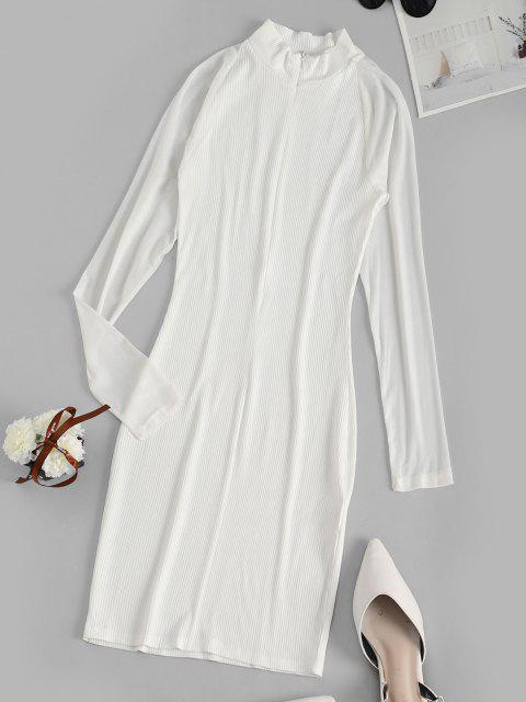 Robe Moulante Côtelé en Maille à Manches Longues - Blanc S Mobile