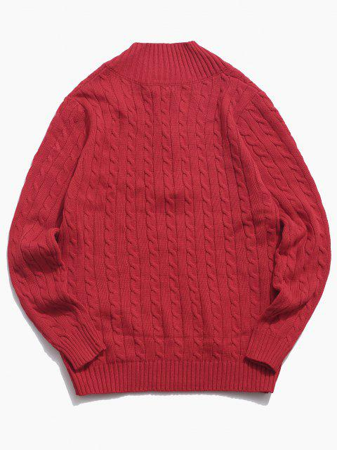 ladies Half Zipper Cable Knit Sweater - RED XS Mobile