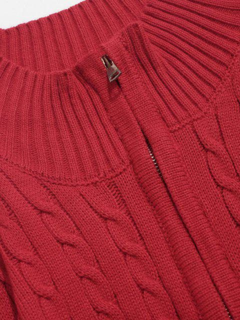 Maglione con Mezza Cerniera a Trecce - Rosso S Mobile