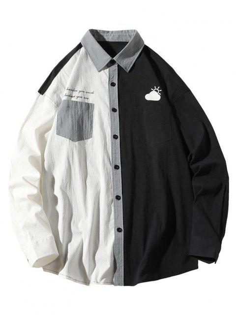 Slogan Print Colorblock Panel Pocket Patch Shirt - أبيض L Mobile