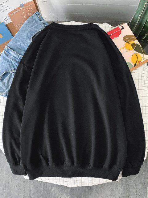 Sweat-shirtAnimalImpriméStyle Rétro - Noir S Mobile